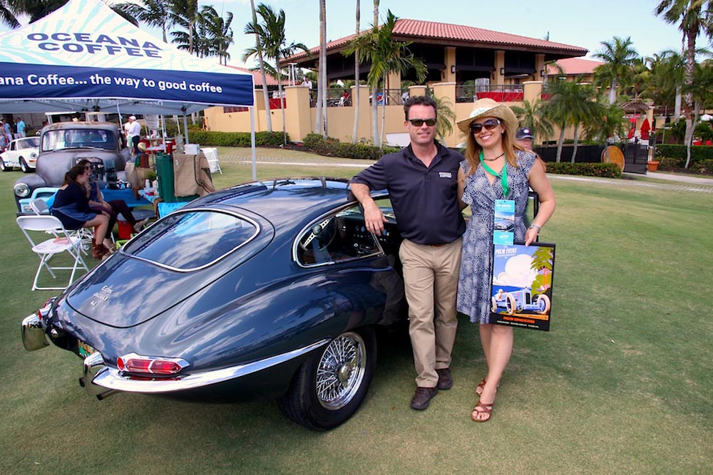 Oceana Coffee's Scott and Amy Angelo and their 1966 Jaguar E-Type coupe