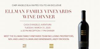 Ellman Family Vineyards Wine Dinner at Casa D'Angelo