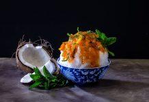 True Romance kakigōri with white chocolate mint sauce, peach jam, and fresh mint.