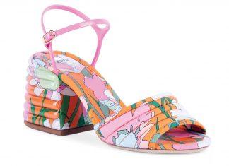 Floral-print block heel sandals ($850), Fendi, Saks Fifth Avenue locations