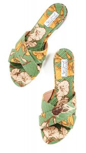 Lassie green flower-print slides ($545), Tabitha Simmons x Johanna Ortiz, shopbop.com